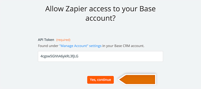 Base CRM integration: Authorizing application in Zapier