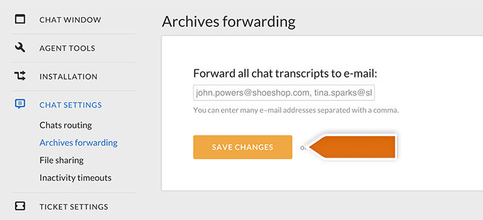 Forwarding chat transcripts to email