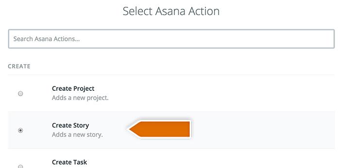 Selecting Asana action