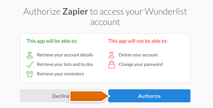 Wunderlist integration: authorizing Zapier's access