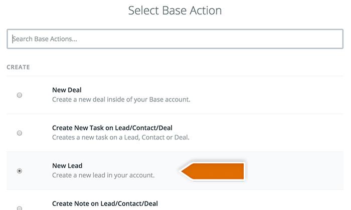 Base CRM integration: Choosing Base action