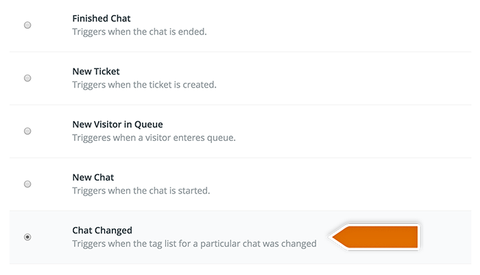 Integration with Wunderlist: selecting LiveChat trigger