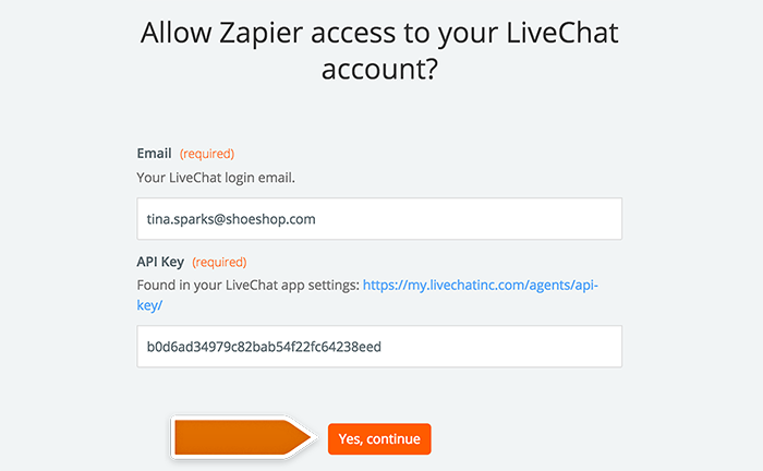 Entering your LiveChat account data
