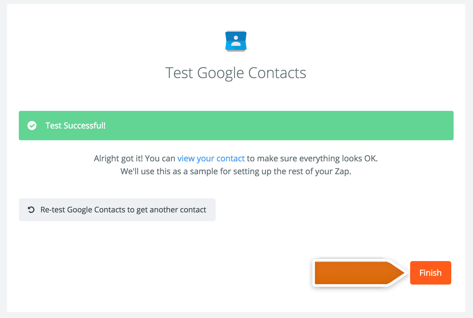 Finalizing the Google COntacts integration