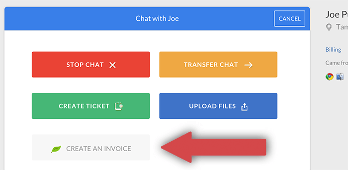 Creating an invoice from LiveChat with FreshBooks