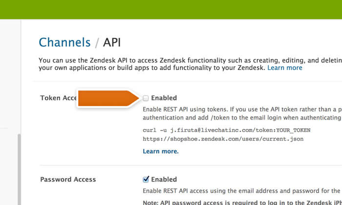 Enabling Zendesk Token Access