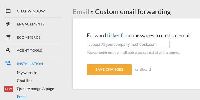 Custom email forwarding in LiveChat