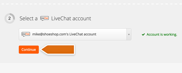 Proceeding with LiveChat account setup