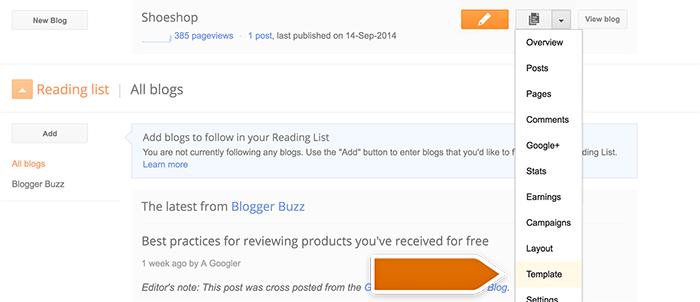 Entering template editor on Blogspot