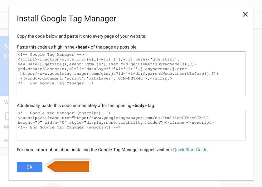 Getting the Google Tag Manager code