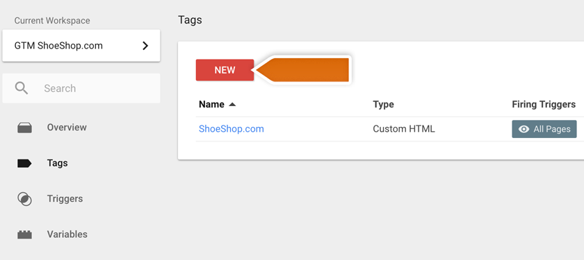 Creating a new tag for Google Analytics