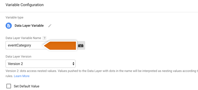 Typing proper value in the Data Layer Variable field