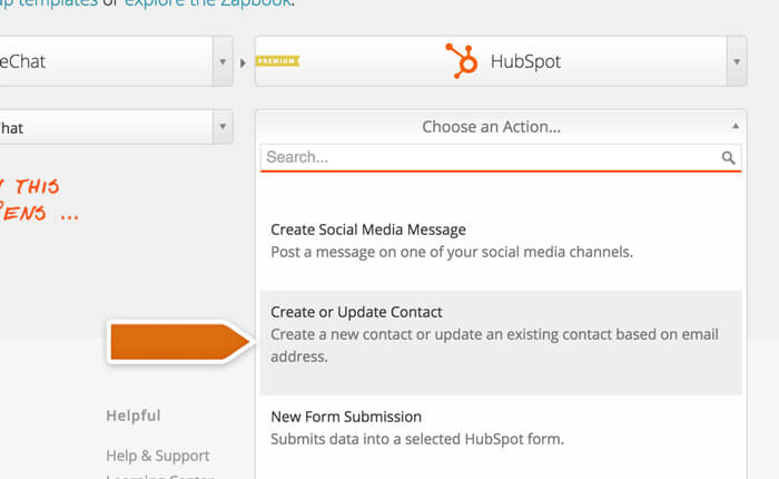 Selecting an action for HubSpot