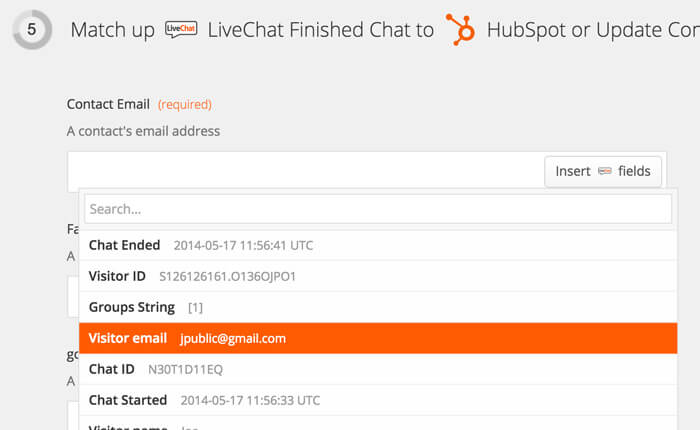 Selecting data to pass from LiveChat to HubSpot