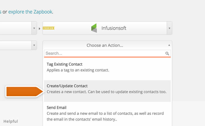 Selecting an action for Infusionsoft