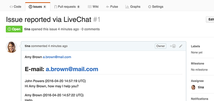 Issue passed from LiveChat to GitHub
