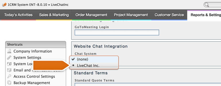 Pick LiveChat from the list of available chat systems