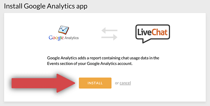 Proceeding with the installation of Google Analytics integration