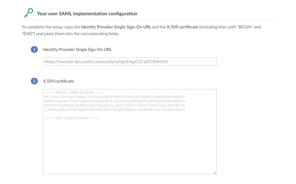 Paste the SAML Protocol URL Signing Certificate