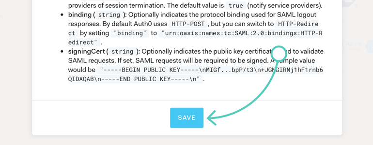 Save changes to your SAML2 WEB APP Addon