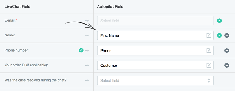Map fields from LiveChat with corresponding fields in Autopilot