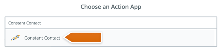 Choose Constant Contact as an Action App