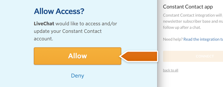 Allow LiveChat to access your Constant Contact account