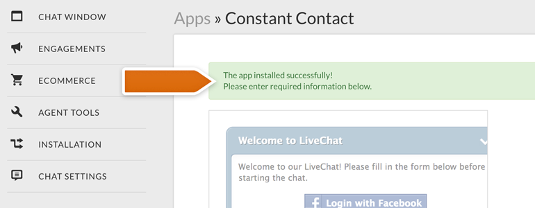 Constant Contact was installed successfully on your LiveChat!