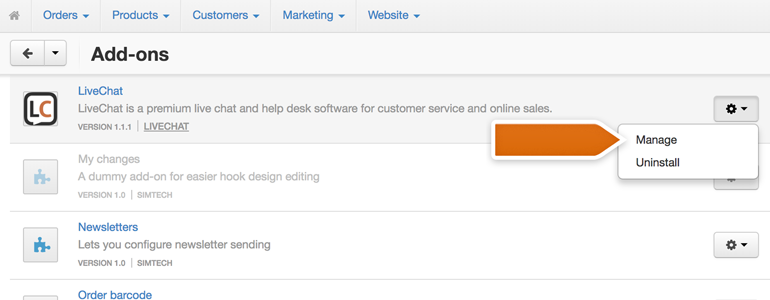 CS-Cart LiveChat: Go to the Manage section of LiveChat plugin