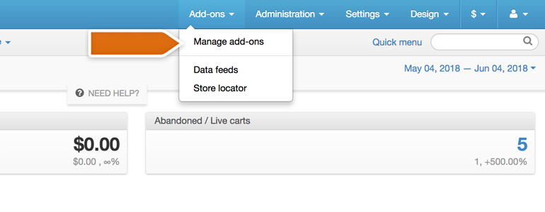 CS-Cart LiveChat: Go to the Manage Add-ons section
