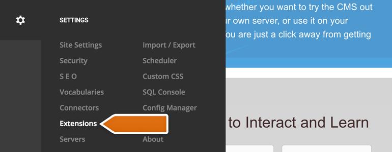 DonNetNuke LiveChat: go to Extensions available under DotNetNuke settings