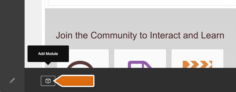 DotNetNuke Chat: click on Add Module button