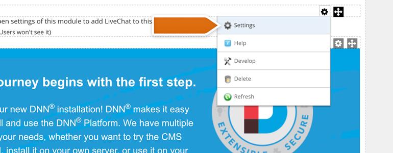 DotNetNuke Chat: go to settings of the plugin