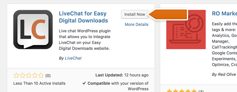 Click on Install Now button, available on the LiveChat for Easy Digital Downloads plugin