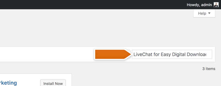 Look for LiveChat for Easy Digital Downloads in Search Tool