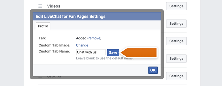 Choose and save a new name for your LiveChat tab