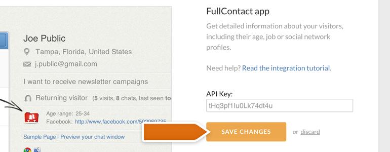Entering the FullContact API key