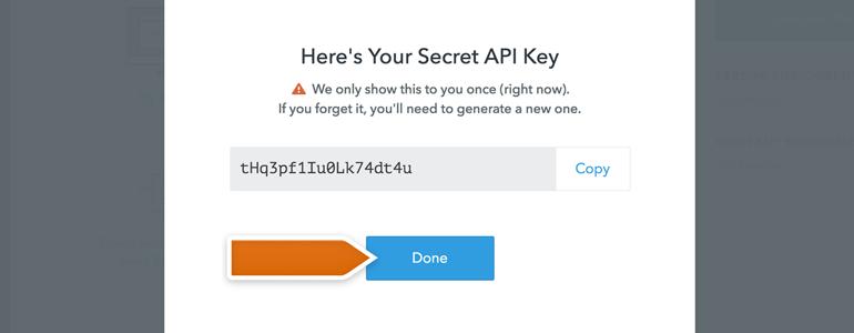 Copy API key generated in FullContact's dashboard