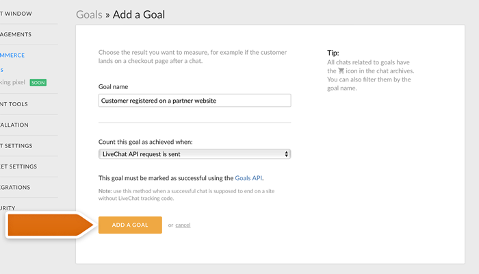 Adding an API Goal in LiveChat