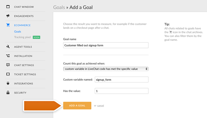 Adding a custom variable Goal in LiveChat