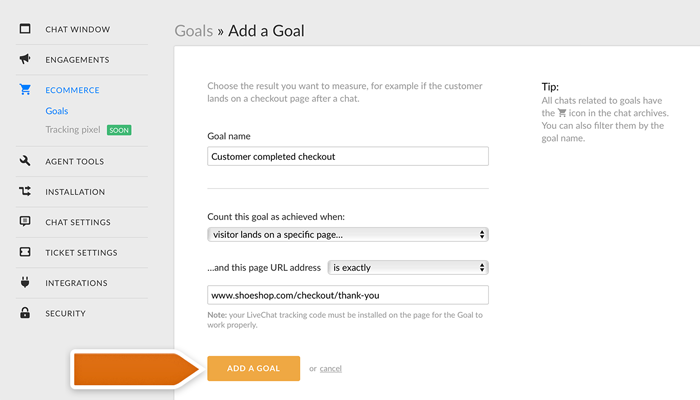 Adding a page URL Goal in LiveChat