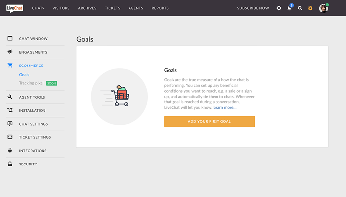 The Goals section in LiveChat