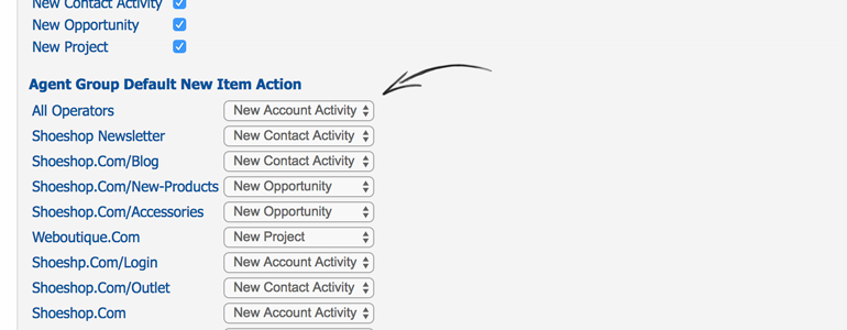 Choose a default action for each of your groups