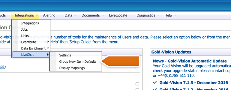 Go to LiveChat Group New Item Defaults available under Integrations in Gold-Vision Administration Console
