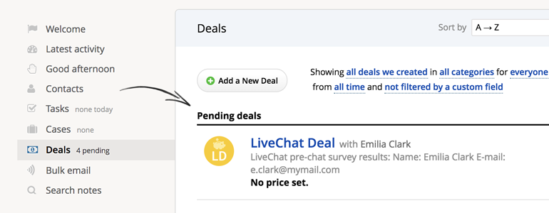 Highrise LiveChat: check your Deals and Transcripts in Highrise