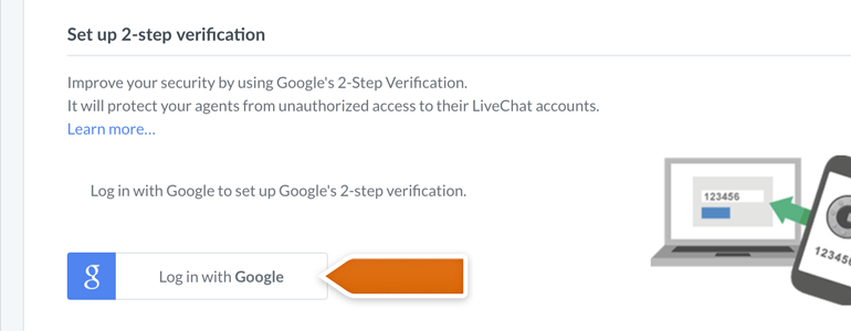 LiveChat HIPAA compliant: click on the Log in with Google button