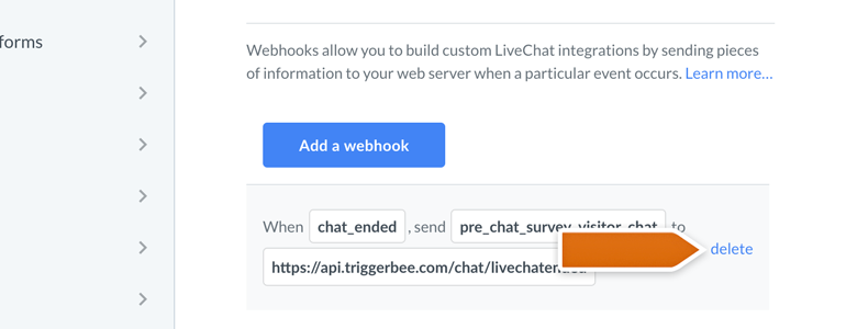 LiveChat HIPAA compliant: delete your webhook