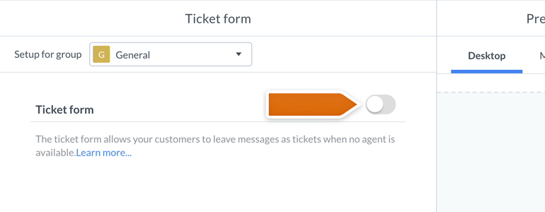 LiveChat HIPAA compliant: toggle off the switch responsible for Ticket form