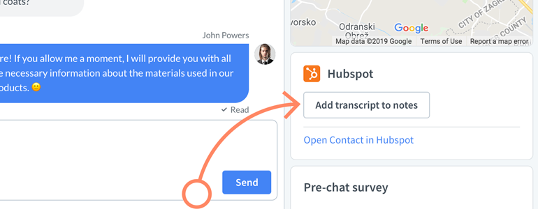 Click on the Add Transcript to Note button, available under the Customer Details