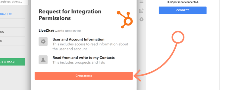 Grant access to your Hubspot account
